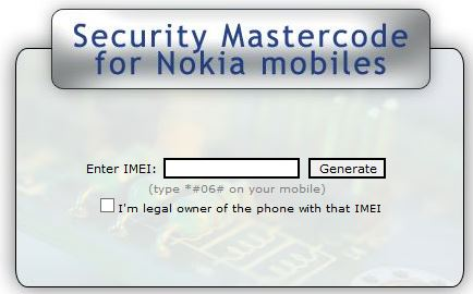 security master code for nokia use if you forget nokia. Black Bedroom Furniture Sets. Home Design Ideas